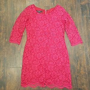 NINE WEST 3/4 sleeve exposed zip lace mini dress